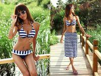 Wholesale LADIES womens swimwear Sexy Piece set Stripes Bikini with Beach Dress Padded Women Swimsuit Bathing Suit