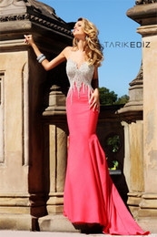 2016 Newest Cheap Mermaid Crew Beaded Red Prom Dresses Long Train Modest Long Cheap Evening Dresses
