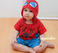 Unisex baby clothes products - Summer Infant jumpsuits new product spider man BABY Climb clothes all cotton Short sleeve children jumpsuits red size