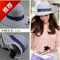 Wholesale Bow striped straw hat beach hat