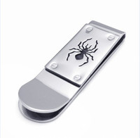 Wholesale 5pcs mmx16mmx5mm High Quality Spider money clip wallet for men Stainless Steel money clips credit card holder gifts freeshipping