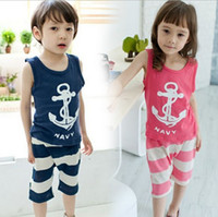 Wholesale Summer baby suits Korean casual boat vest T shirts stripe Middle pants kids outfits children sets colour size