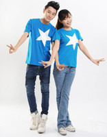 Wholesale men women couple tops t shirt summer fashion Korea style casual clothes brand designer printed cute loving star for lovers Tb55