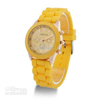 Wholesale Geneva New Style Watch Jelly Watch Three circles Display Silicone Strap Candy Color Unisex Dropship
