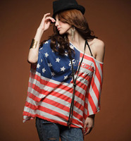 Wholesale Fahion T shirts Womens Ladies Girls American flag Bat sleeve T Shirts Tops with tracking number