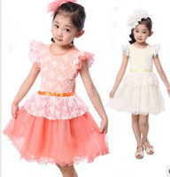 Wholesale New arrival hot sale fashion Korean Slim girls lace girls dress stripe princess summer performances veil casual skirt