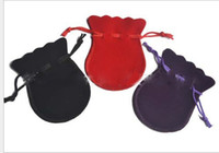 Wholesale 7 cm Velvet bag hoist bags flannel bags Drawstring velvet bag jewelry bag flannel bags gift bags random color