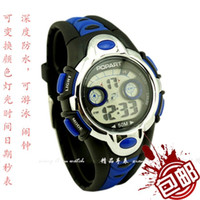 Wholesale Positive brand bag mail children watch the boy fashion LED multi functional waterproof electronic watch the boy student table
