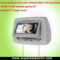 Wholesale 7 inch headrest DVD player car dvd player lcd monitor with USB SD MMC bit wireless Game IR FM transmitte with zipper cover for car