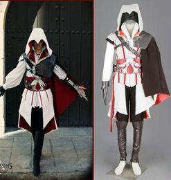 Assassin's Creed II III 2 3 Ezio Altair White Anime Cosplay Costume Embroidery Hallowmas Gift