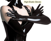 Wholesale European Hotsales Sexy Lingeries Black Patent Leather Stretch Long Gloves Cosplay Costume Pleather Arm Length Glove pairs