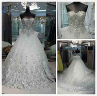Wholesale 2013Cheap Exquisite Sweetheart Beads Appliques Organza A line Cathedral Train Bling Wedding Dresses