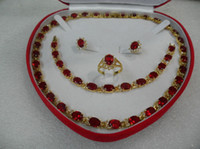 Wholesale Mother s Day gift true red ruby gold filled Earring Bracelet Necklace Ring Set