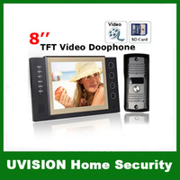 Wholesale 8 inch TFT Monitor LCD Color Video Record Door Phone DoorBell Intercom System with IR camera