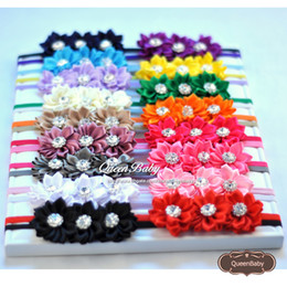 Triple Satin Ribbon Flower Headband Matching Sparking Rhinestone Baby Headbands Fabric Baby Headband 120pcs lot QueenBaby