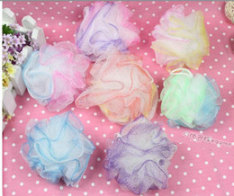 Wholesale multicolor pieces Body Puff Bath or Shower Hanging Loop