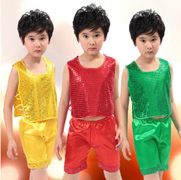 Wholesale 2013 fashion sequined vest suits boys dance clothes stage wear children s performances costumes