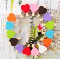 Wholesale 100pcs Mix Color Heart shape wooden clips Mini Wooden Clips for Wedding Favors wa016 color
