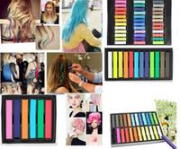 Wholesale 1Box Fashion Colors Hair Chalk Temporary Hair Colour Dye Salon Kit Soft Pastel With Box