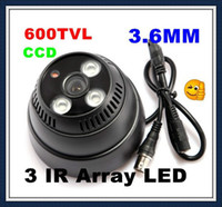 Wholesale Including power V1A Black CMOS TVL Camera Indoor Security Surveillance Dome Camera IR Array LED Night Vision