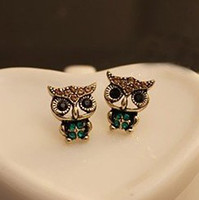 Wholesale 12pairs Fashion Crystal Owl Earring Ear Nail Stud Animal Jewelry