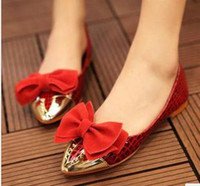 Wholesale New arrival fashion banquet sexy princess luxury spike summer female bow gilded gold snake striae patent flat shoes EU35