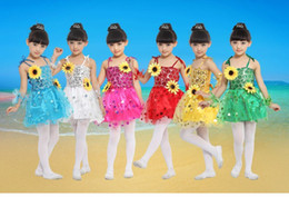 Wholesale Sunflower sequins girls strap veil dress children costumes dance performance clothing stage wear