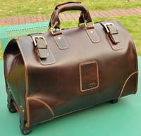 Wholesale Men s Boy s TOP Bull Leather very Large Luggage upright Trolley case gift Duffle Gym Bag Travel Sport Case tote handbag