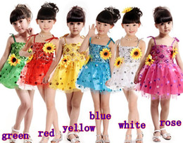 Wholesale Sunflower sequins girls strap dress costumes dance performance clothing stage wear