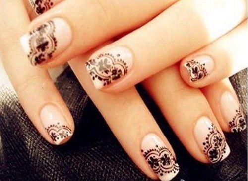 Рисунок на ногтях кружево