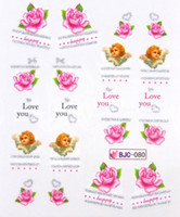 Nail Art 3D Decoration Nail Art Rhinestones Sticker & Decal 37 Styles New Nail Sticker Art Water With Silver Glitter 50pcs Lot French Leopard Valentine Mustache