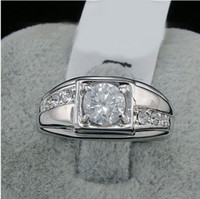 Wholesale new fashion Swarovski crystal men Ring white k gold plated finger rings wedding gold filled CZ diamond jewelry