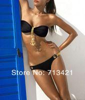 Polyester bandeau bikini tops - Noble Sexy Black Swimwear Women Padded Golden Metal Pendants Bandeau Top and Bottom Bikini Set New Swimsuit Lady Bathing Suit