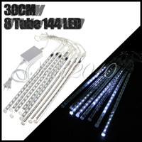 Wholesale 30CM leds led Meteor Shower Rain Tube Snowfall LED Light Tree Garden Decoration White blue Multi color