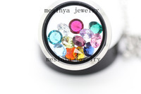 Wholesale sparkle mm round birthstone floating charm for glass memory locket Xmas mother day