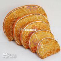 Wholesale Cheap Women Makeup Case Set Bag Silk Zipper Cosmetic Purses Set set mix color Free