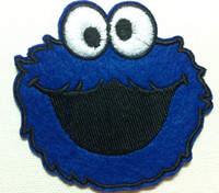 Wholesale 10 Pieces Cartoon Sesame Street Cookie Monster Embroidered Iron On Applique Patch Punk Patc P