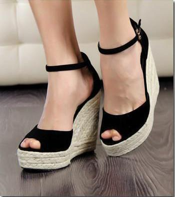 Summer 2013 Fashion Wedge Women Canvas Platform Heels Sandals For ...