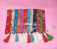 Wholesale Chinese Fans Color - Unique Tassel Hand Fan Pouch Silk brocade Printed Bag Chinese Coin Packaging Covers 20pcs lot mix color Free shipping