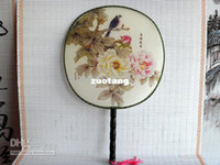 antique wood handle - Large Antique Palace Bridal Handle Silk Hand Fans Weddings Round Tassel Decorative Fan mix pattern