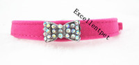 Wholesale color dog bow tie sofa pet collar and crystal bow tie