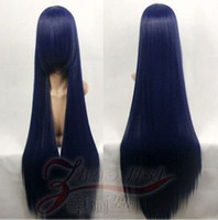 Cheap Popular Fashion straight Blue black cosplay heat resistant Party wig 39 inches