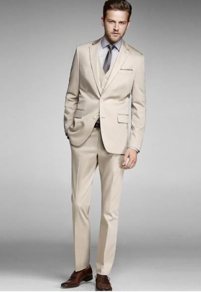 Custom Made New Two Button Beige Groom Tuxedos Best Man Notch ...