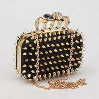 Clutch Genuine Leather  New Designer Womens Evening Clutch Cocktail Wedding Party Club Bags Black Handbag Shoulder Bag Skull Ring Knuckle Drill Rivet Punk Cool Wild