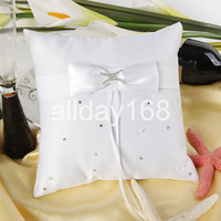 Wholesale High quality Wedding favors white X rhinestone Satin Ring Pillow for Wedding Ceremony Party Stuff Accessories