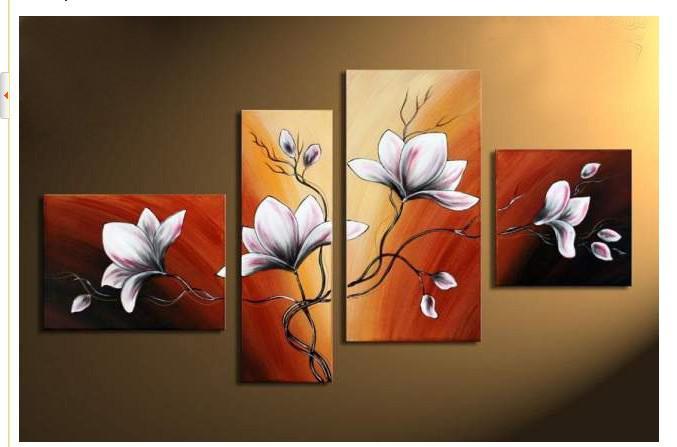 Hand Painted Wall Art hand-painted wall art autumn brown red flower bloom home