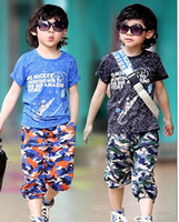 Boy 4-12y Summer Summer models boys T-shirt + camouflage pants track suit