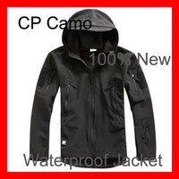 Wholesale Popular Black Men Outdoor Hunting Camping Waterproof Coats Jacket Hoodie Black Multi size Outdoor Sports S M L XL XXL XXXL