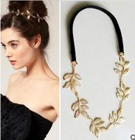Wholesale Fashion Hiar Jewelry Gold Metal Leaf Headband Hiar Band Lady Hair Wear XJ2