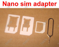 Wholesale 4 in Nano Sim Card Adapter Sim Card Tray Eject Pin Key Micro Sim adaptor Noosy for iPhone sets
